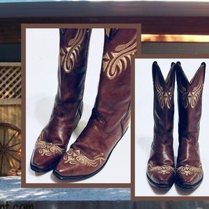 Santa Fe Boot Embroidered Western Boots Sz 8.5